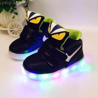 The boys and girls High top Monster shoes LED lighting light sportshoes children baby shoes