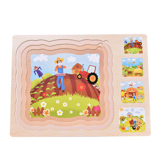 Wooden Multilayer Puzzles 3 layer Jigsaw Children Kids EducationalToys - 5