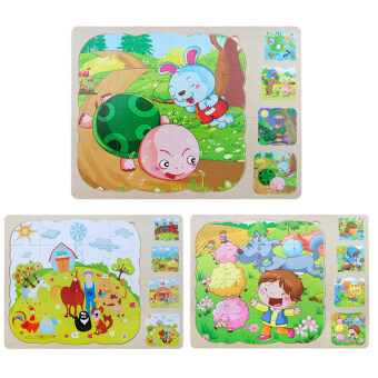 Wooden Multilayer Puzzles 3 layer Jigsaw Children Kids EducationalToys - 3
