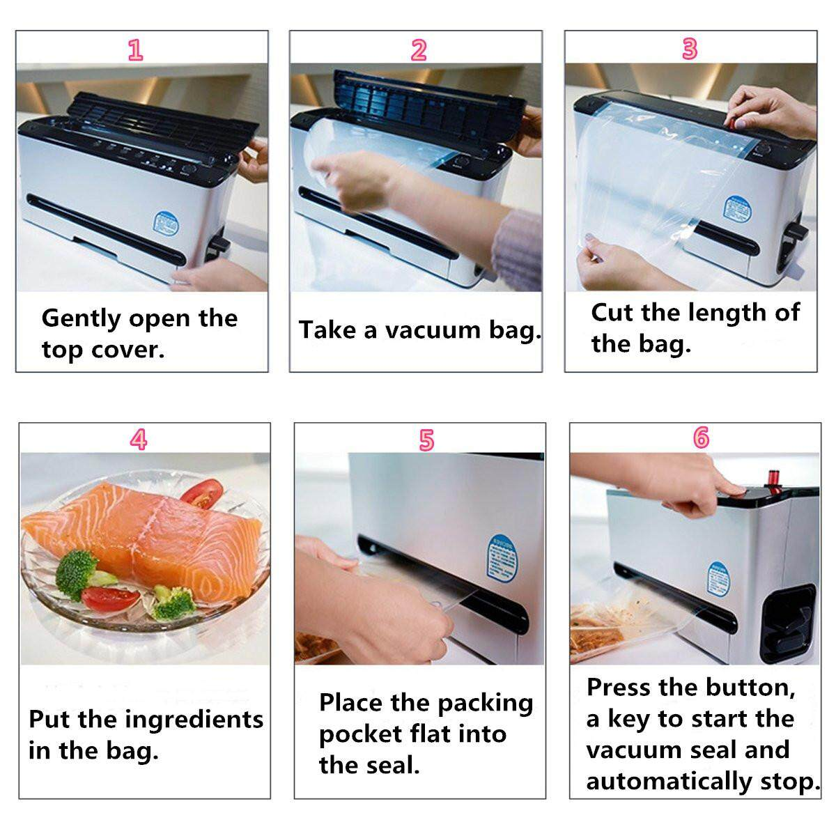 220V Commercial Automatic Vacuum Sealer Food Sealing Storage Packing  Machine+Bag