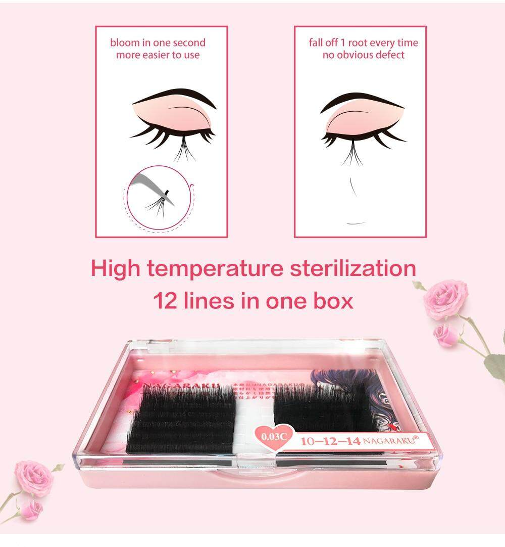 7ef2713b27d Specifications of NAGARAKU auto bloom lashes Premade Russian Volume Fans  Mink Eyelash Extensions Easy to fans lash 0.03mm Mixed Length Individual