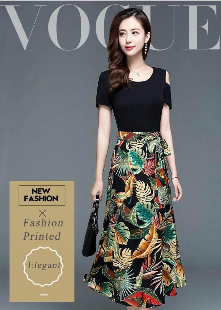 Rok Panjang Wanita Terbaru Vintage Floral Printed Women Dress Floral Maxi Dress Baju Kurung Moden 2019 Long Dinner Dress For Women Plus Size Kaftan