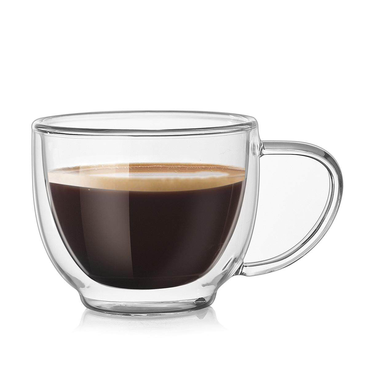 200ML Double Wall Insulated Milk Cups Glass Coffee Cup Mug With Free Cup  Brush