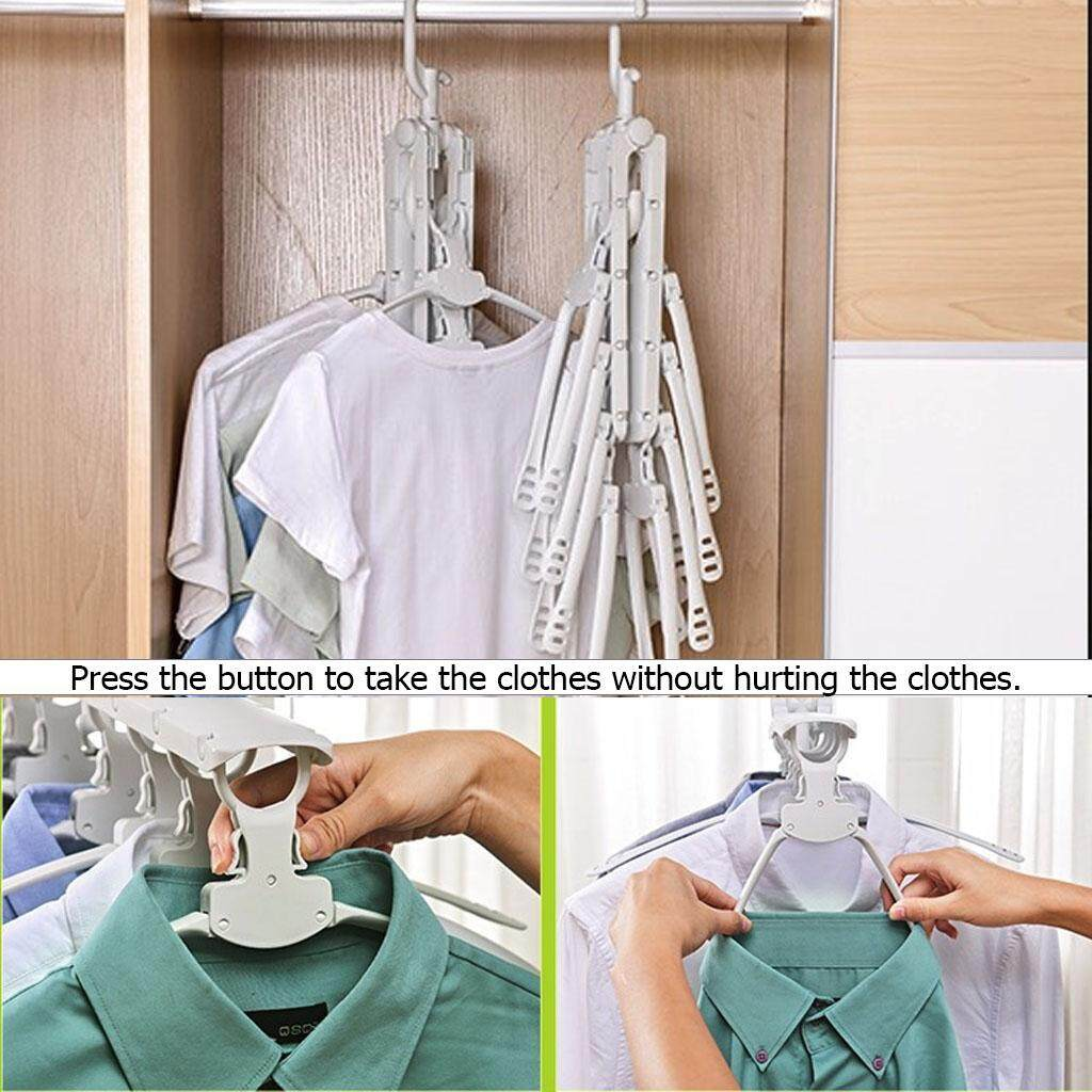 654935cac73c Non-slip Plastic Cloth Hanger Foldable Clothes Dryer Telescopic Drying  Clothing Rack Hangers 8 Fish Bones Outdoor Hanging Clothes Stand