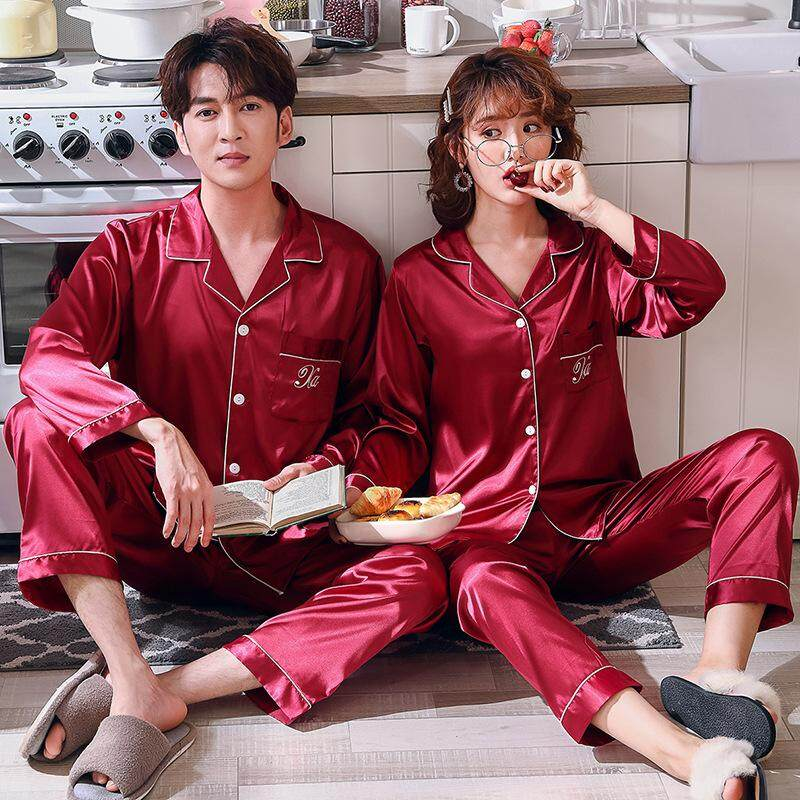 a3f67339a4 ... Good Quality) Spring New Couple Pajamas, Ladies Simulation Silk  Long-sleeved Pajamas, Men's Suit Silk Thin Section Home Service - (male 1  Set)