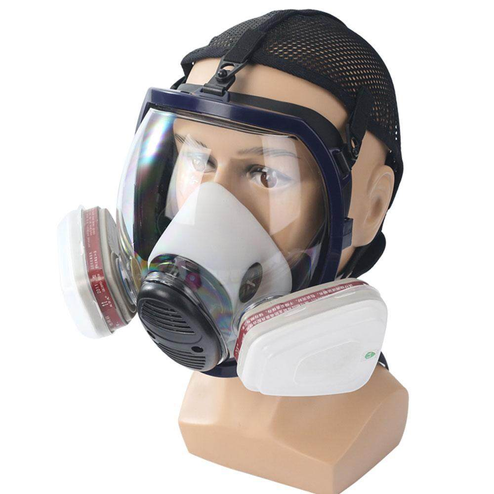 SeaLavender Full Face Respirator Mask Double Filter Dustproof Air Breathing  Anti Chemical Gas Protection,Dust Mask,FDA Tested,Filters Included