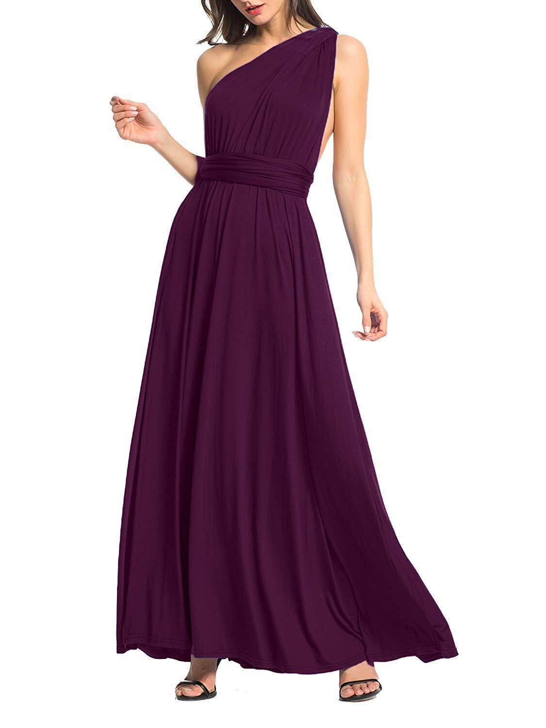 08dadb07ec6d Clothink Women's Convertible Wrap Multi Way Party Long Maxi Dress ...