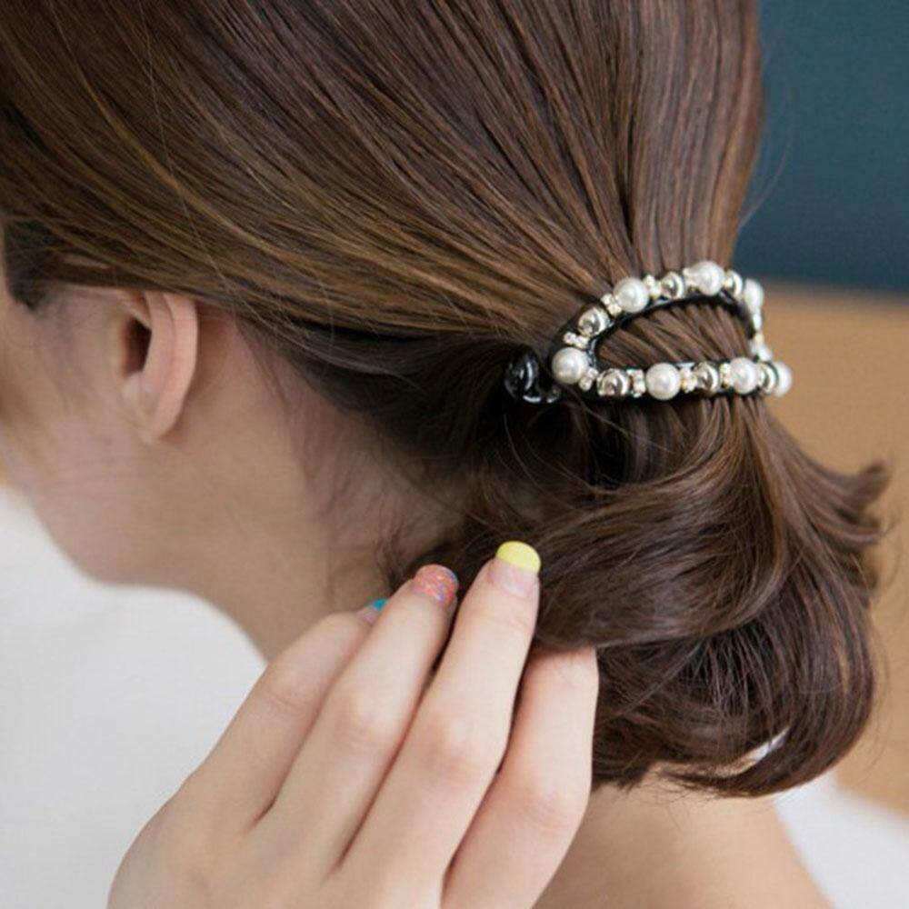 Oval Hairpins Accessories Bling Headwear Pearl Ponytail Holder Black Hair Clip