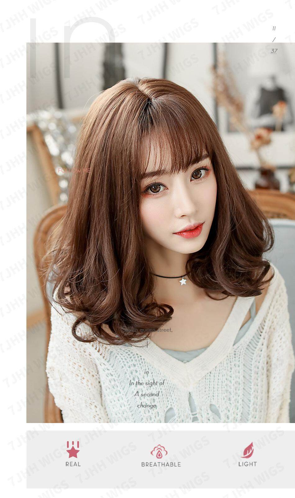 Wig Female Short Hair Long Curly Hair Air Bangs Clavicle Hair Realistic Short Curly Hair Repair Face Long Curly Hair Pear Head Lazada Ph