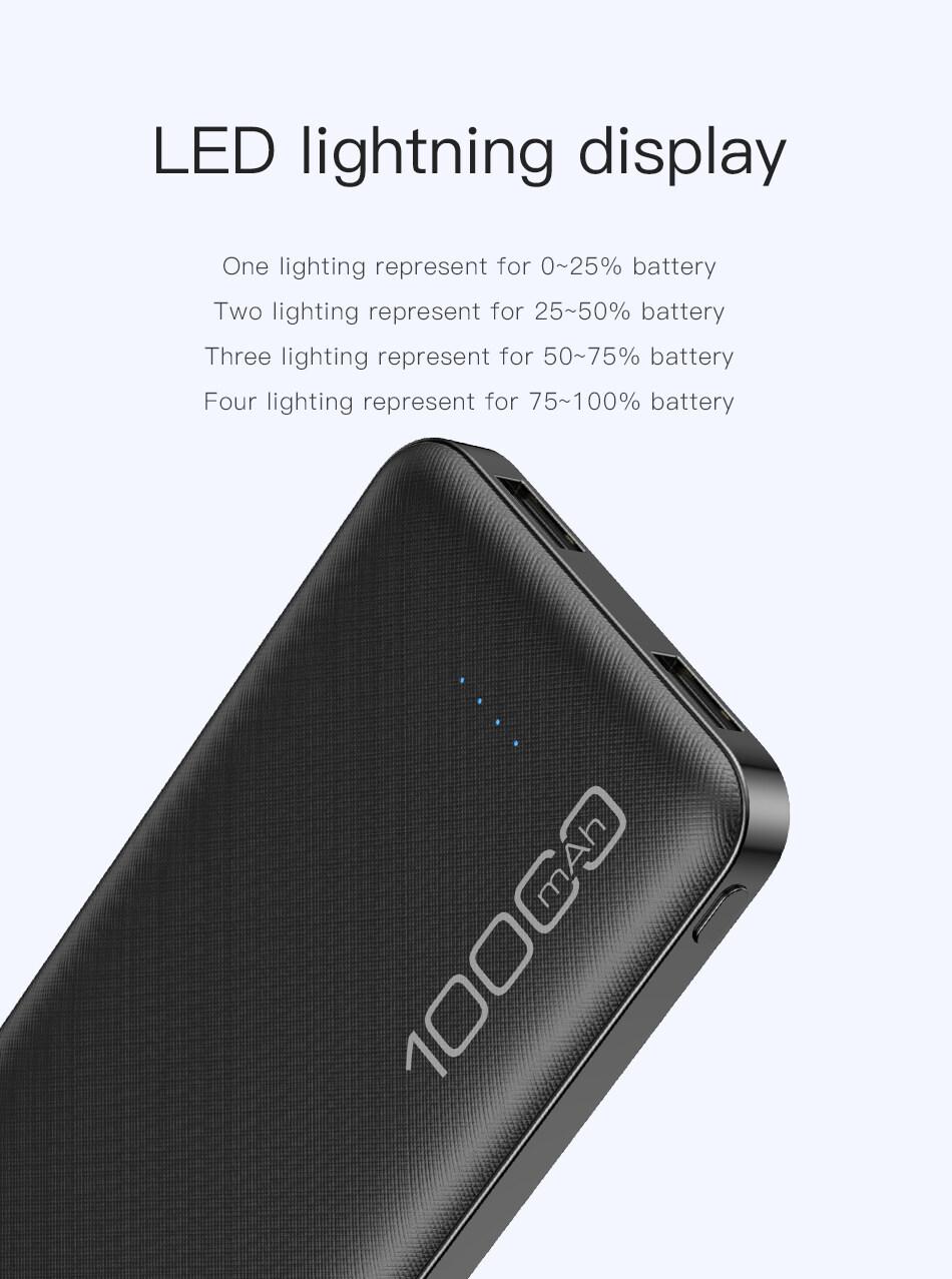 Sạc Dự Phòng Awei P28K, Poverbank Sạc Nhanh 10000MAh Sạc Di Động Pin Kép USB 2.1A Bên Ngoài, Dành Cho Xiaomi iPhone 11 6