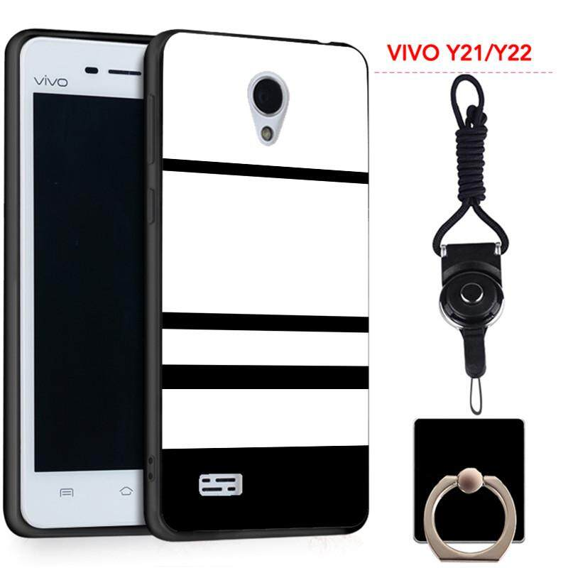 360°Full Protective Silicon Soft Phone Case for VIVO Y21/Y22/Y25 with a  Rope and a Ring Fashion Lovely Cartoon (Multicolor)