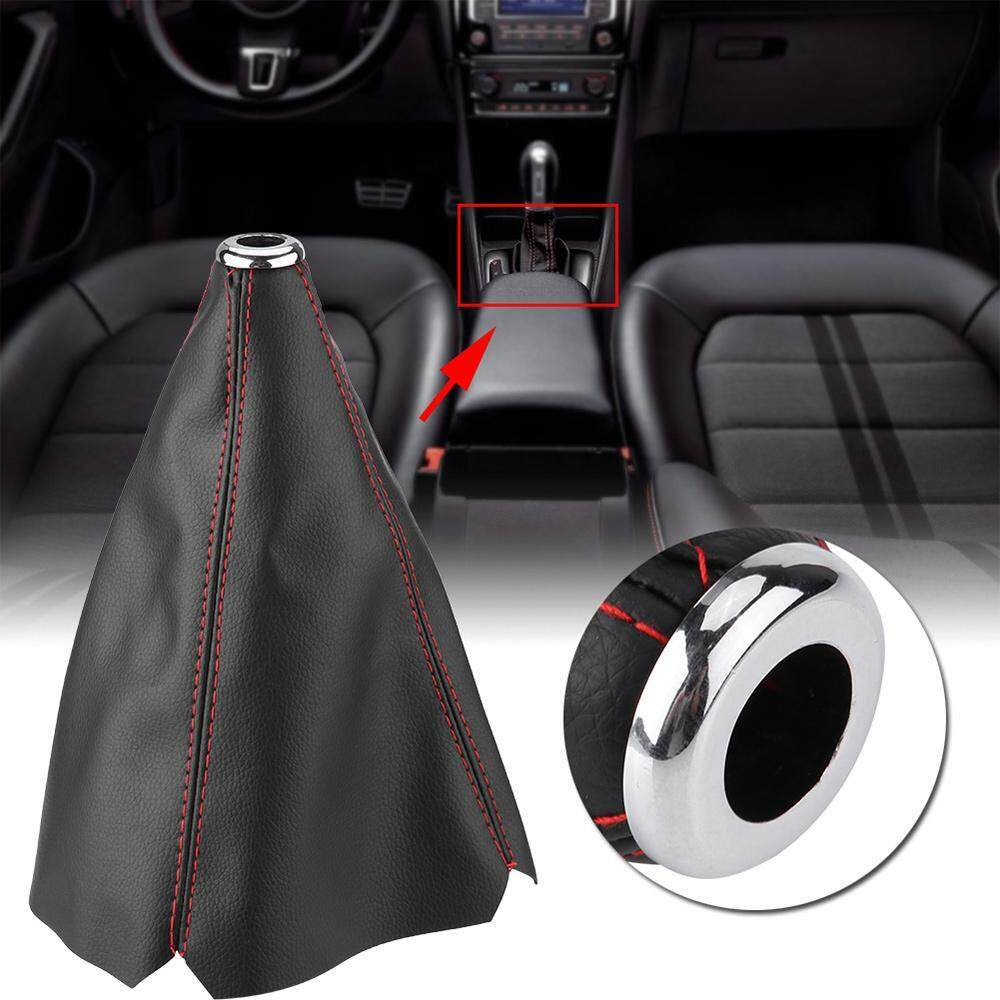 Universal Carbon Fiber Style PU Leather Gear Shift Knob Cover Dust-proof Red Stitch Gear Gaiter Boot Cover Car Gear Shift Knob Lever Dust Cover