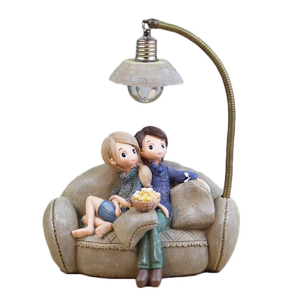 1PCS Resin Craft Couple Character Ornaments Creative Boy Girl LED Night Light