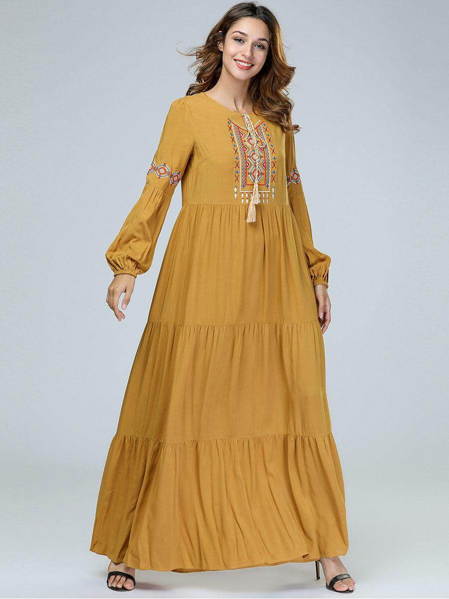 3b1f67dcd594bc 100% Actual Photo Large Size Long Sleeve Maxi Yellow Cotton Linen ...