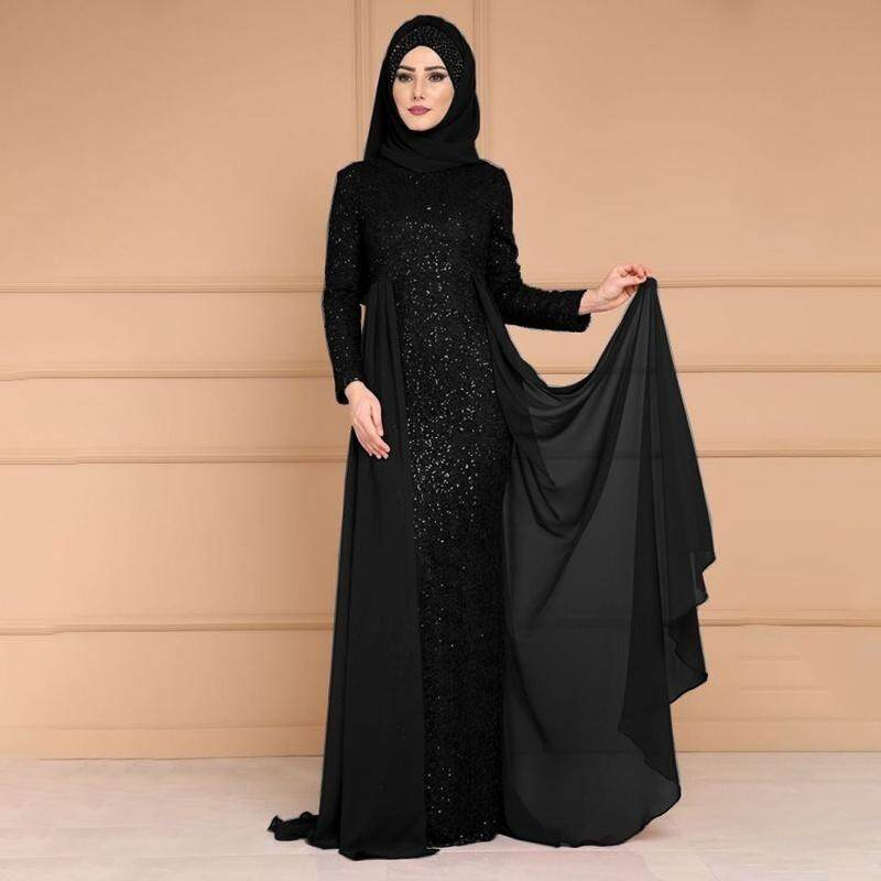 51404ffff9 Women Abaya Sequins Muslim Kaftan Hijab Lace Long Sleeve Islamic Maxi  Fishtail Dress Fashion Abaya Dress Plus Size Casual Splicing Lace In Dubai  Maxi ...