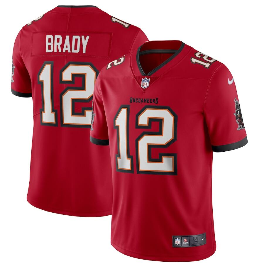 2020 NFL Jerseys Men's Tom Brady #12 Tampa Bay Buccaneers Player Rugby Football Jersey High Quality Embroidered Logo Vapor Limited Jersey - Home Red