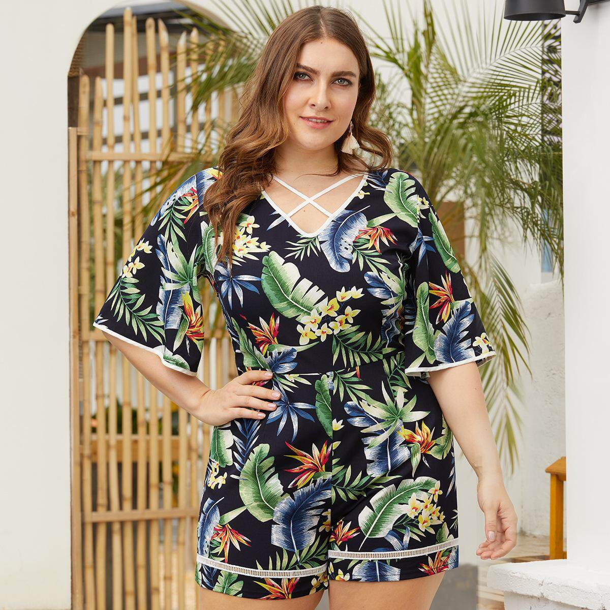latest best quality for reliable reputation UMmaid Plus Size Women Floral Jumpsuits V Neck Short Playsuits