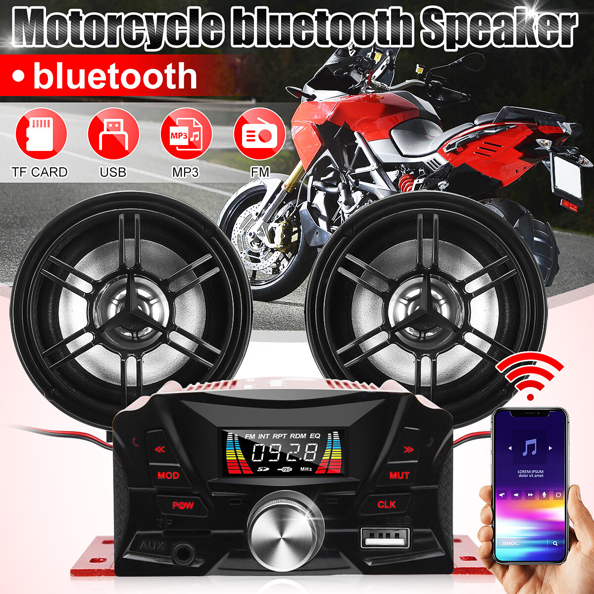 Motorcycle Speaker Audio Sound System Stereo Radio Speakers Bluetooth MP3//USB FM