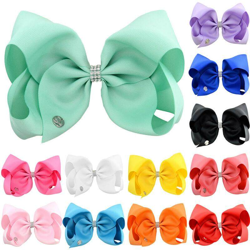 JOJO SIWA Large 8 Inch Sequin Bow Rainbow Bowknot Hair Clips For Girls Kids