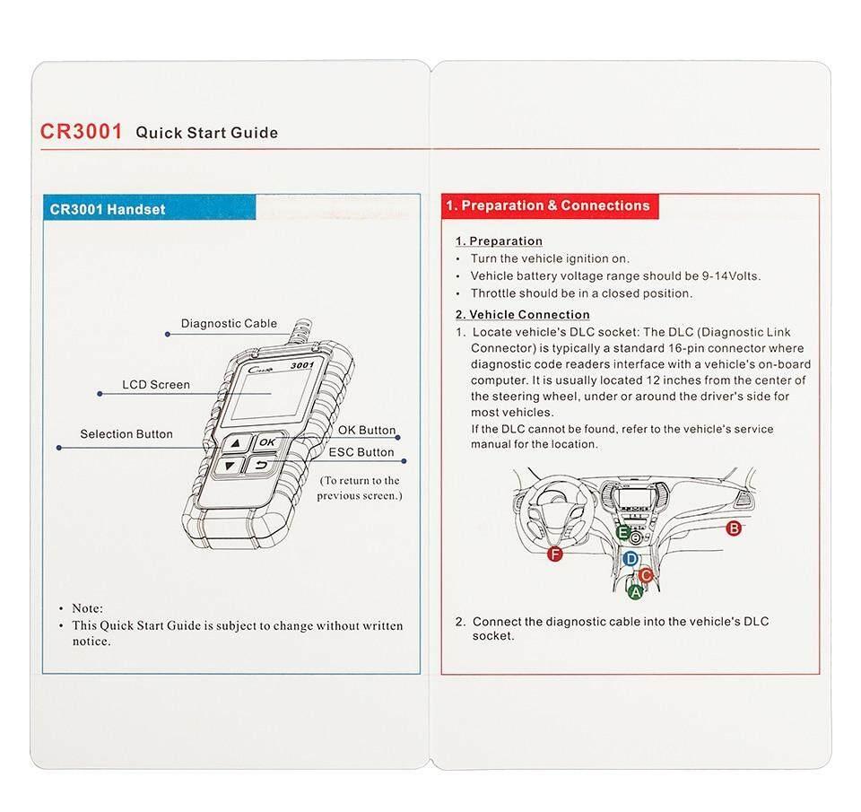 Full OBD2/EOBD Function Diagnostic Tool 3001 Code Reader Scanner CR3001  Launch