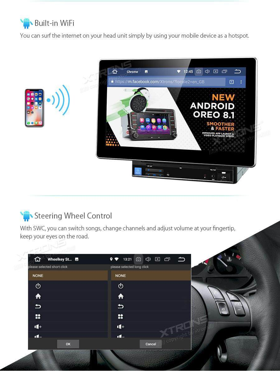 XTRONS 10 1 Inch Double Din Head Unit Universal Android 8 1 Car Stereo,  Quad Core Radio GPS Navigator with USB SD Port Bluetooth 5 0 Supports  Steering