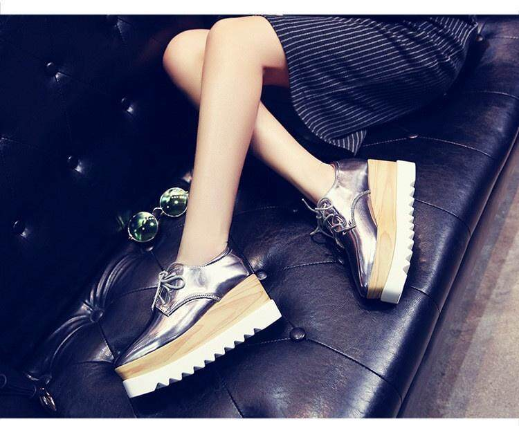 78c181a10dd6 Women s Shiny Lace Up Flats Double Platform Creepers Shoes Oxfords ...