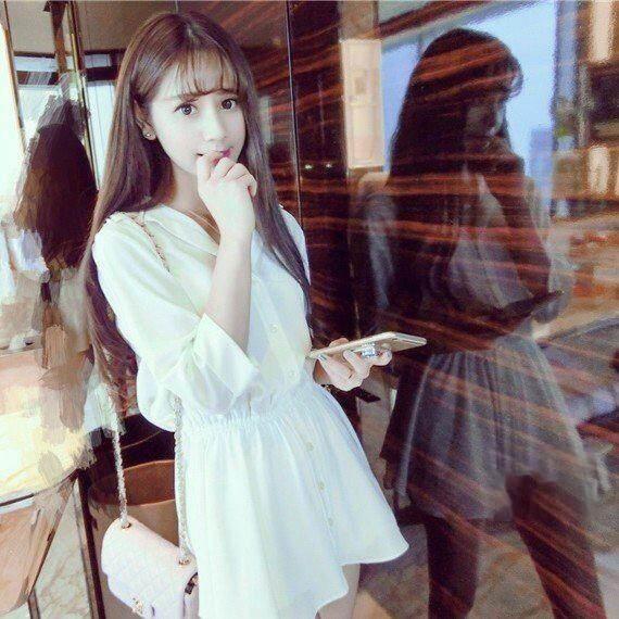 【Stay】春夏新款韓版甜美翻領收腰顯瘦純色連衣襯衫裙 韓妞 洋裝 長版上衣 襯衫 長版T【S15】