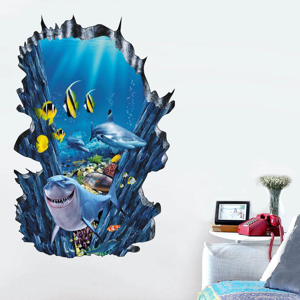 TTB 3D Dunia Bawah Laut PVC Stiker Dinding Stiker Wallpaper Ruang Tamu Dekorasi