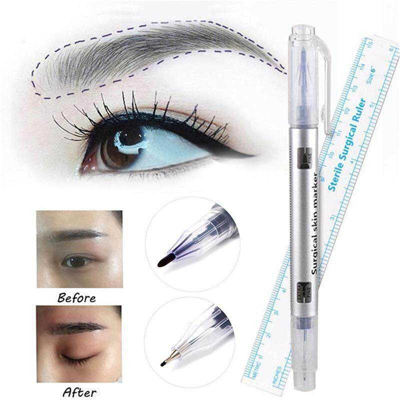 Waterproof Eye Brow Marker Tattoo Eyebrow Skin Marker Pen With Measure Measuring Ruler Lip Liner Body Art Makeup Tools Lazada Singapore
