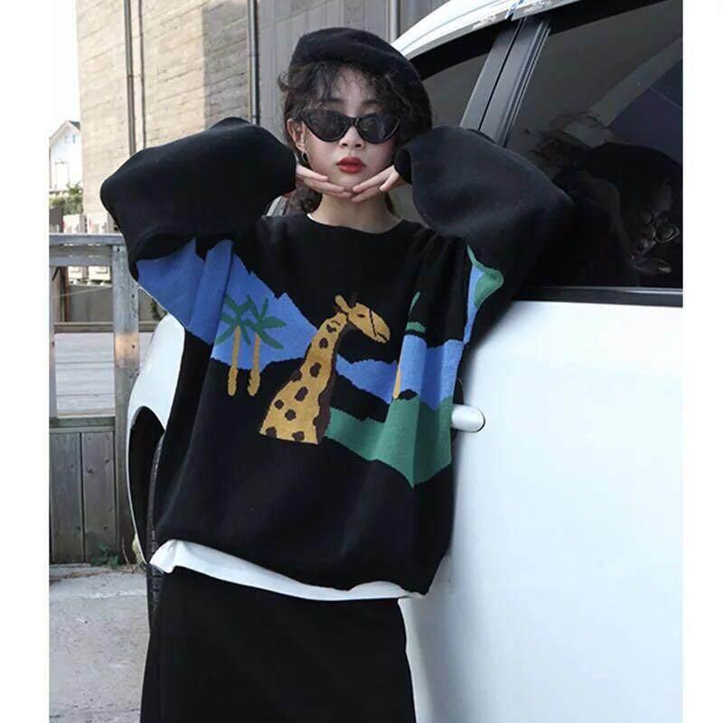 Fashion Musim Dingin Jerapah Pola Rajutan Pullover Sweater Korea