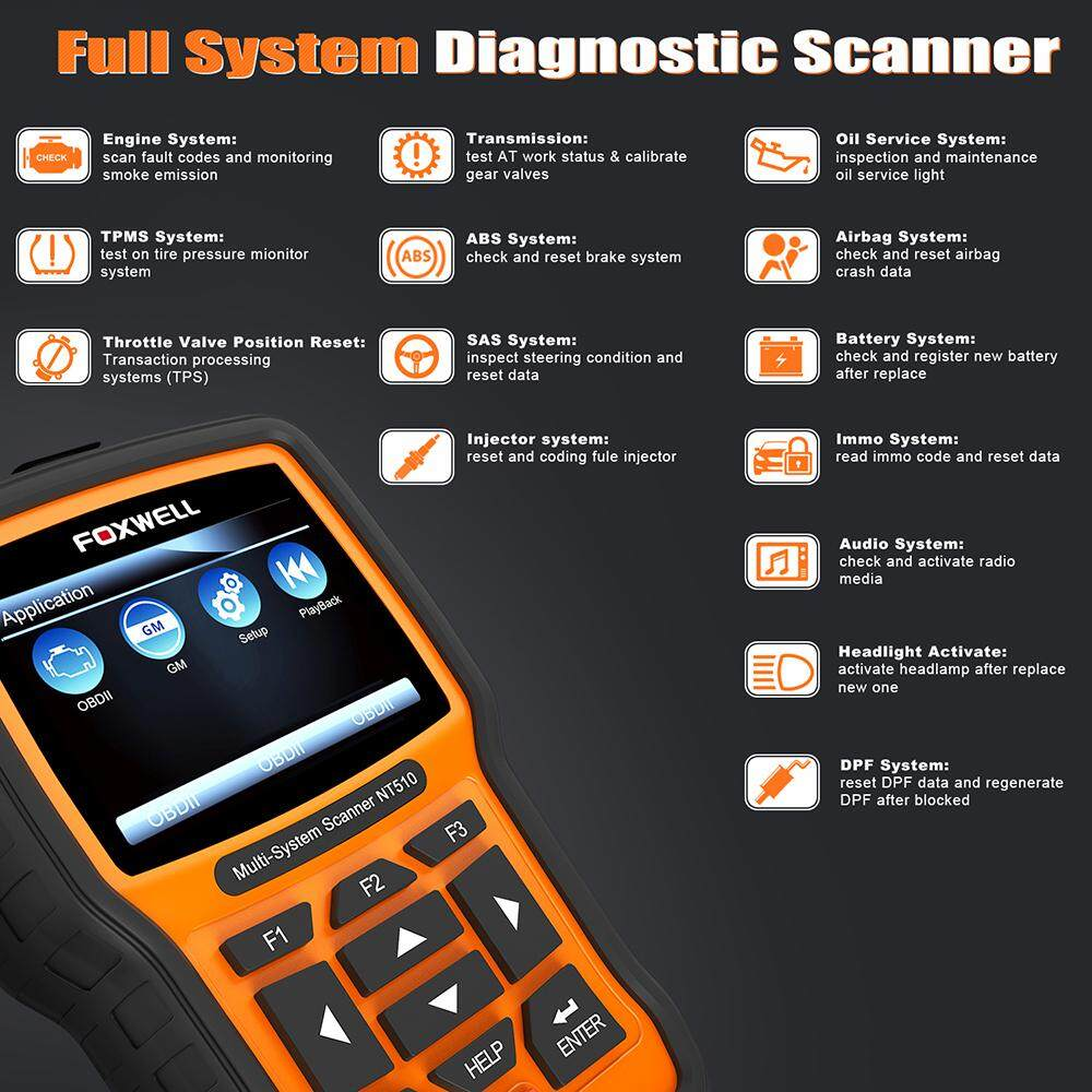 Airbag Reset Tool Full System Car Scanner Foxwell NT510 OBD2 Scanner Car  Diagnostic Tool Support ABS SRS Crash Data EPB Oil Reset Throttle Body