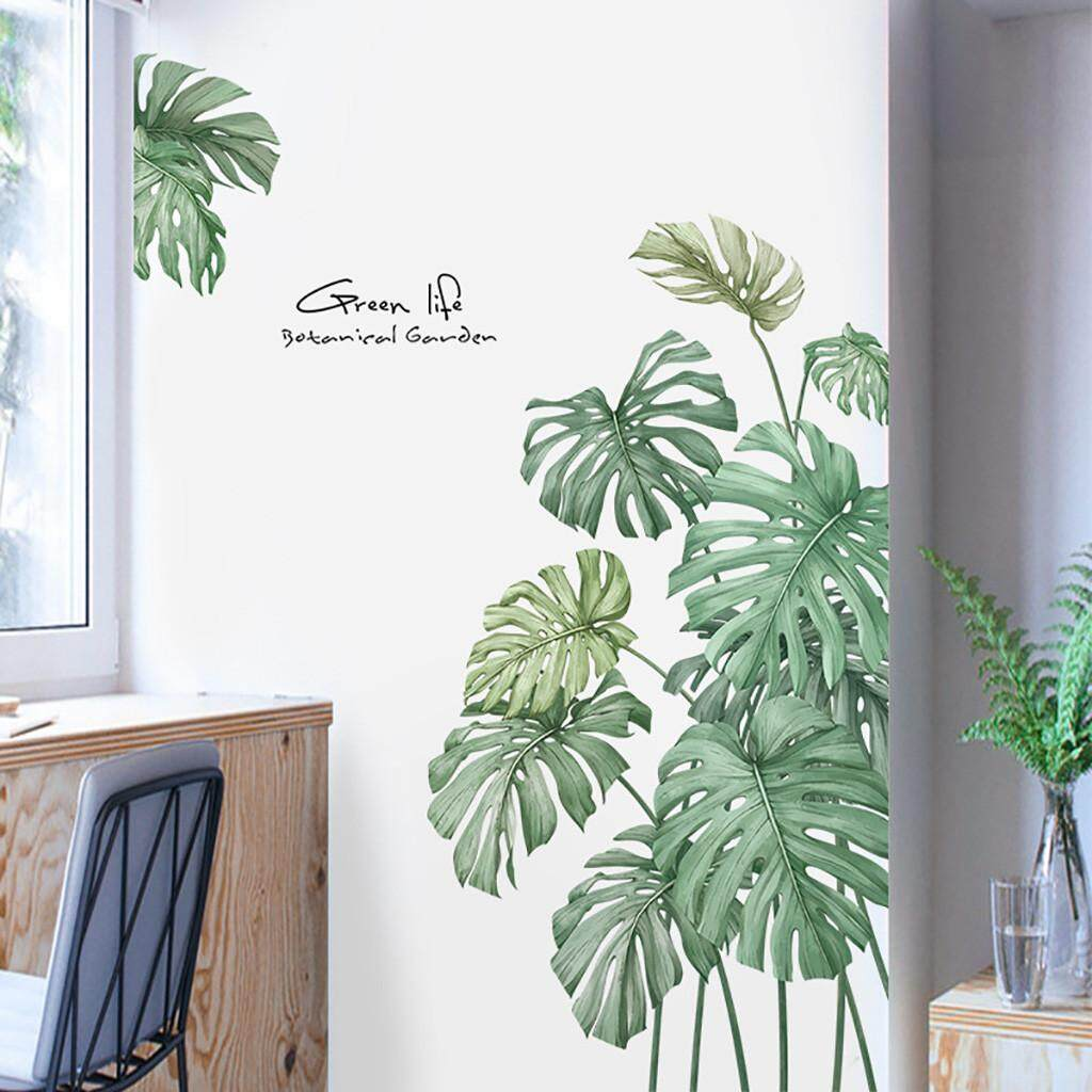 Diy Beach Tropical Palm Leaves Wall Stickers Modern Art Vinyl Decal Wall Mural Safety Home Decor Wallpaper Diy Wall Decor Brick Living Room Kids