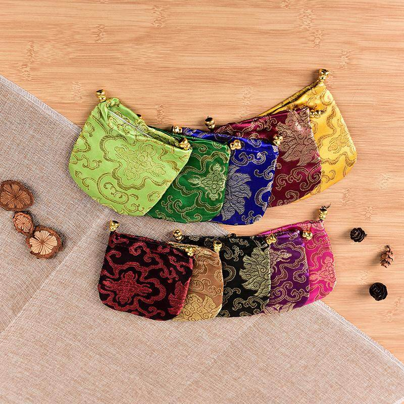 10PCS Mix Colors Chinese Handmade  Silk Bag Coin Purse Gift Jewelry Bags Pouches