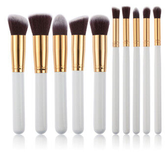 10pcs Makeup Brush Set Face Powder Brush (black+Silver) - 4