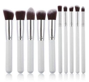 10pcs Makeup Brush Set Face Powder Brush (black+Silver) - 5