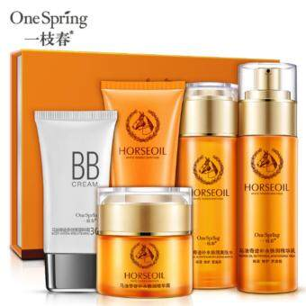 5 In 1 One Spring Natural Horse Oil - Toner + Emulsion + Lotion + Clense r+ BB Cream (1 Set)