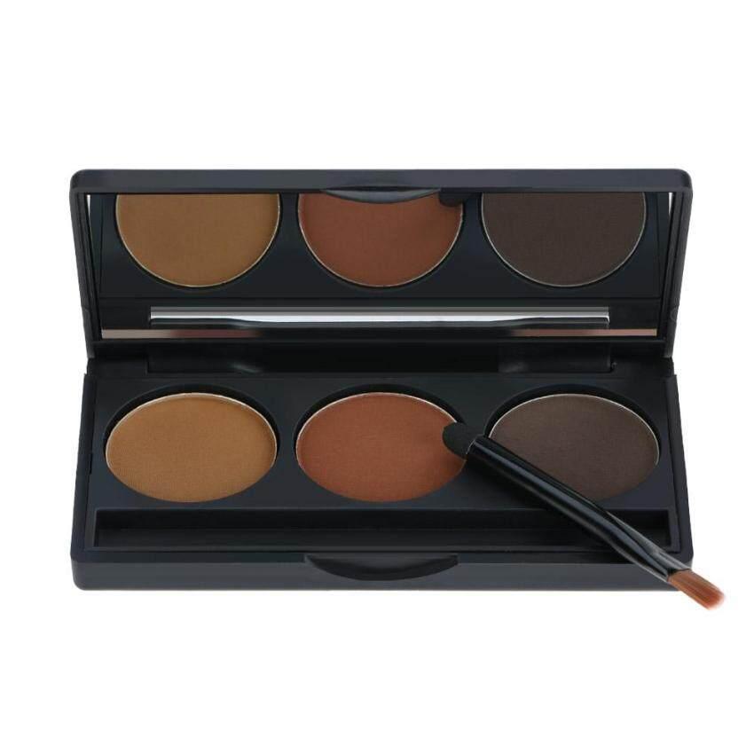 Abody Profesional 3 Warna Alis Bubuk Bayangan Palet Eyeliner Bedak Alami Kopi & Cokelat Warna Kosmetik Alat Riasan Perlengkapan dengan kuas & Cermin-Internasional