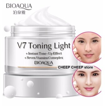 Harga BioAqua V7 Toning Light Instant Tone Up Effect Lazy Cream 50g for Fairer Flawless Skin Foundation BB CC Crystal Clear Nude Whitening Makeup