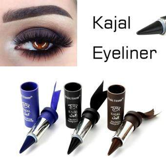 Harga (Brown)3 Colors Smoky Eyes KAJALs Eyeliner Solid Thick Black BoldEyes Liner Gel Pencil Makeup