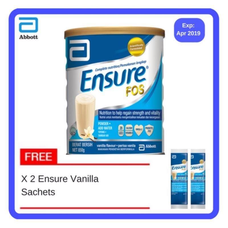 Buy Ensure Fos Vanilla 850G free 2 sachets [EXP: 2019/7] Malaysia