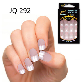 Harga 24pcs False Nails French Fake Nails for Nail Art Design Nail Tips JQ292