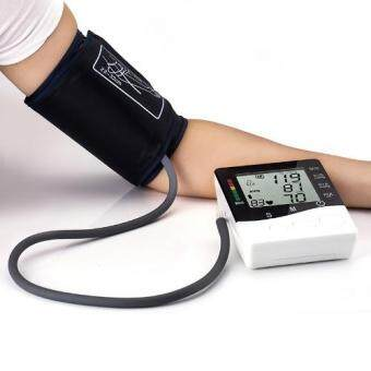 Harga Blood Pressure Monitor Arm health monitors tonometer health care meter LCD Digital sphygmomanometer for heart(White)