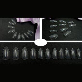 Harga 600pcs Artificial Nail Full Cover Oval Stiletto False Fake Nails(Clear)