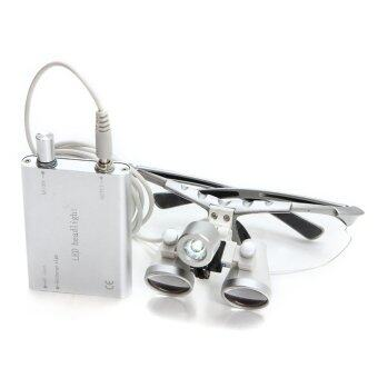 Harga 3.5X 420mm Dentist Dental Surgical Medical Binocular Loupes Optical Glass Loupe + Portable LED Head Light Lamp (Silver)