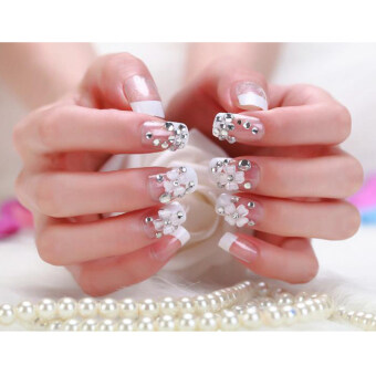 Harga DIY 24pcs/set Fashion Bling French Style False Nails with Glue Art Tips Nail Art Nail Decal Crystal Glass Rhinestones for Nails Nail Art Decoration