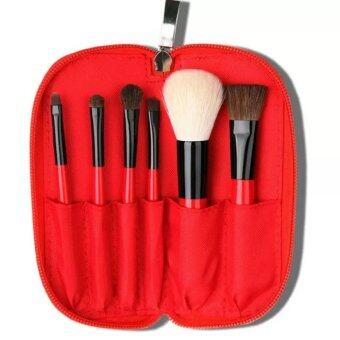 Harga Cerro Qreen Cosmetic Make-up Brush Set - Red (6pcs)