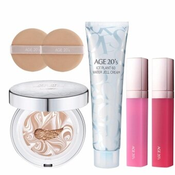 Harga [AGE 20's] Essence Cover Pact #23 WHITE LATTE ( 1 Case + 2 Refills + 2 Puffs + 1 Ice Plant 60 Water Jell Cream + 1 Tint ) / Made in Korea