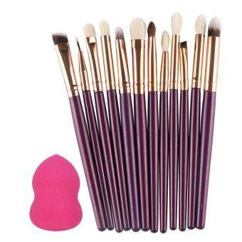 Harga 12pcs Makeup Eyeshadow Eyeliner Brush Set + 1 Powder Sponge Puff (Purple)