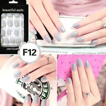 Harga Cheap Fashion Fake Nails False Tips Full Acrylic French Art Designer 24 Pcs Nail Grey