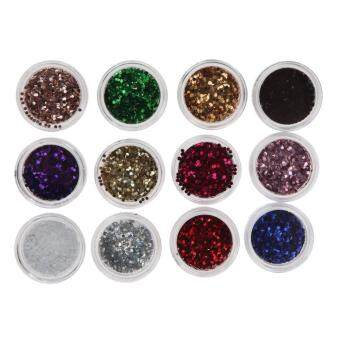 Harga 12 Pcs Mix Color Glitter Set for Nail Art Acrylic Tips Decoration(7#)